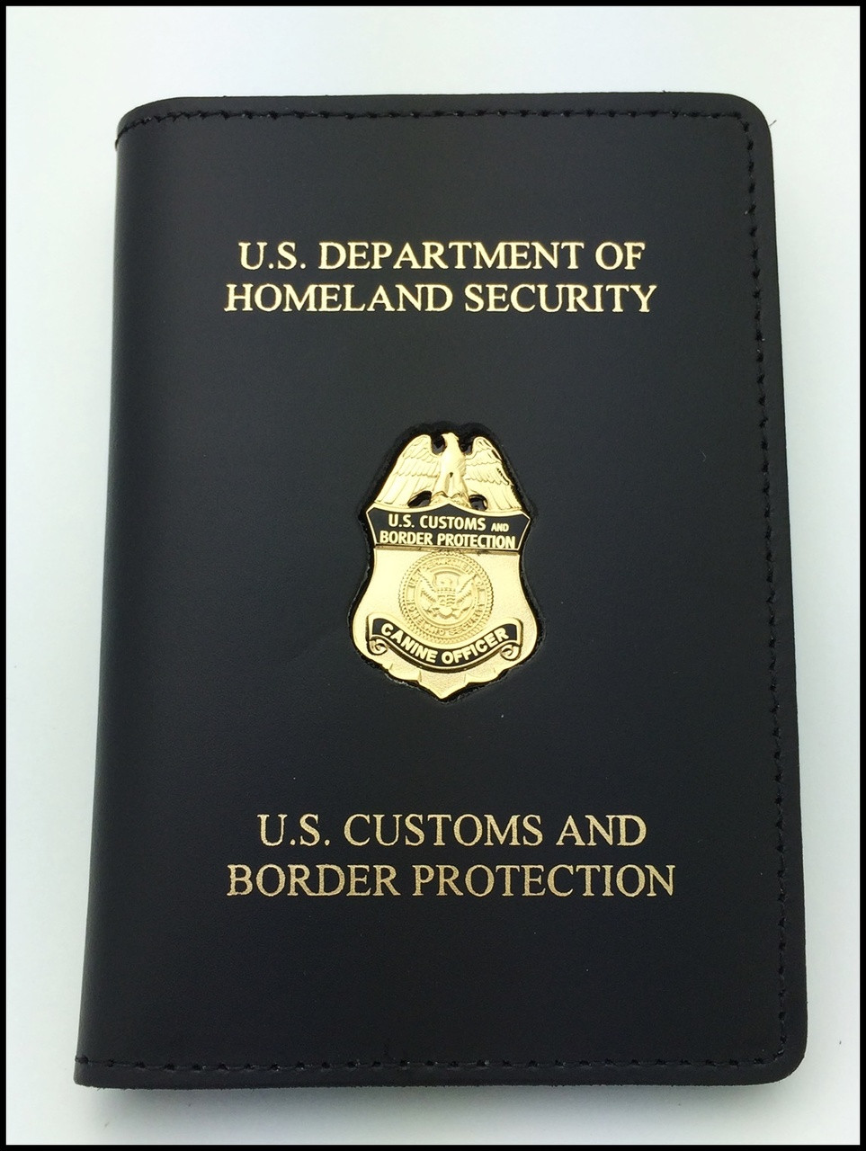 Customs and Border Protection Canine Officer Mini Badge Credential Case - DHS & CBP Embossing