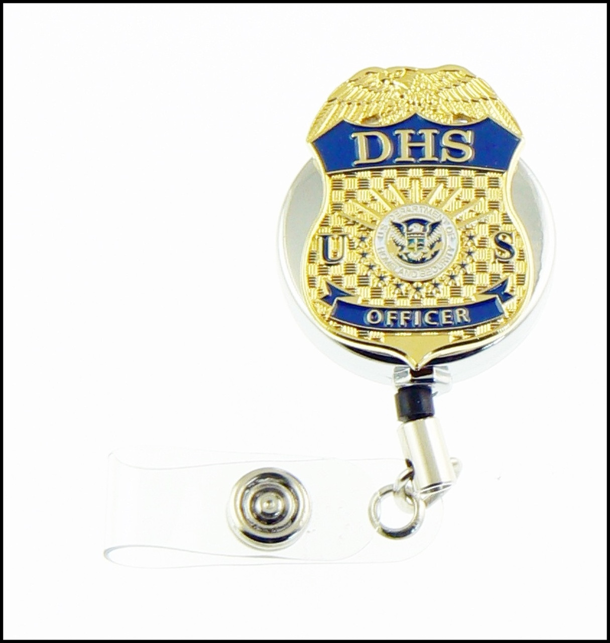 Department of Homeland Security Officer Mini Badge Chrome ID Reel