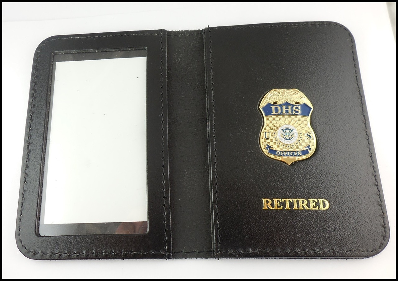 Department of Homeland Security Officer Mini Badge ID Case - Retired embossing