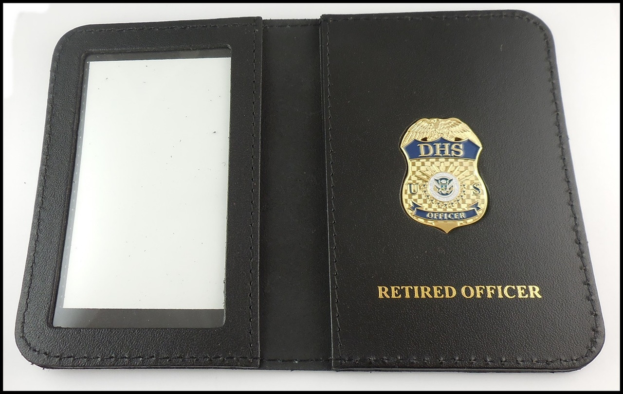 Department of Homeland Security Officer Mini Badge ID Case - Retired Officer embossing