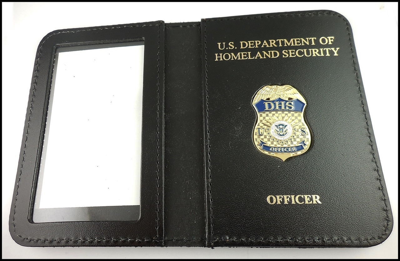 Department of Homeland Security Officer Mini Badge ID Case - DHS & Officer embossing