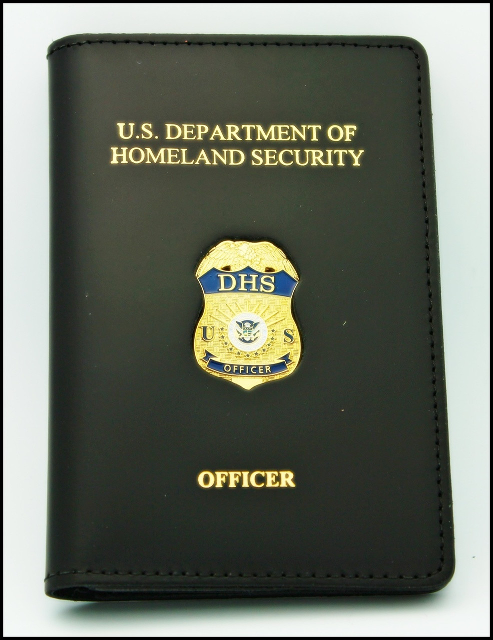 Department of Homeland Security Officer Mini Badge Credential Case - DHS & Officer embossing
