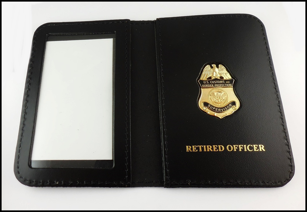 Customs and Border Protection Supervisor Mini Badge  ID Case - Retired Officer embossing