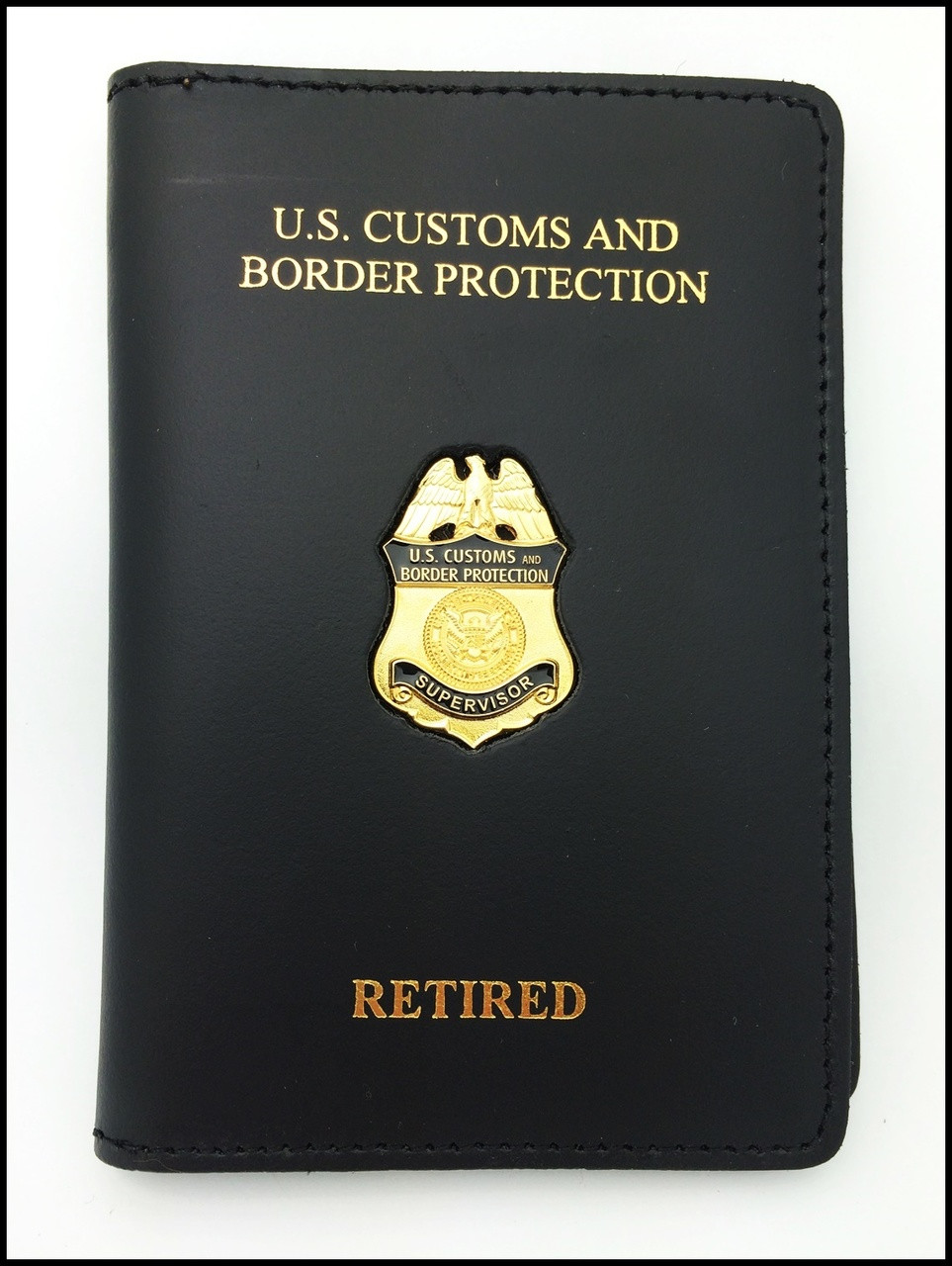Customs and Border Protection Supervisor Mini Badge  Credential Case - CBP & Retired Officer embossing