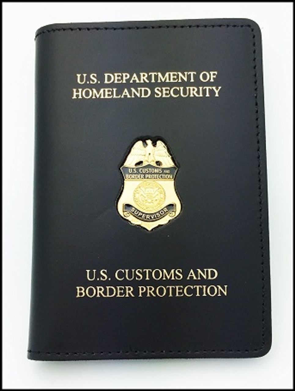 Customs and Border Protection Supervisor Mini Badge  Credential Case - DHS & CBP embossing