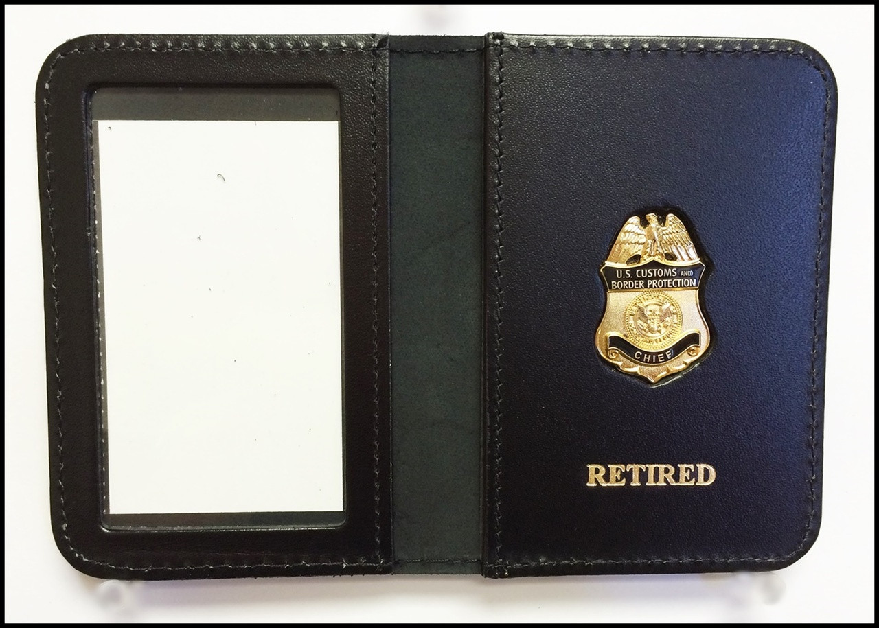 Customs and Border Protection Chief Mini Badge ID Case - Retired embossing