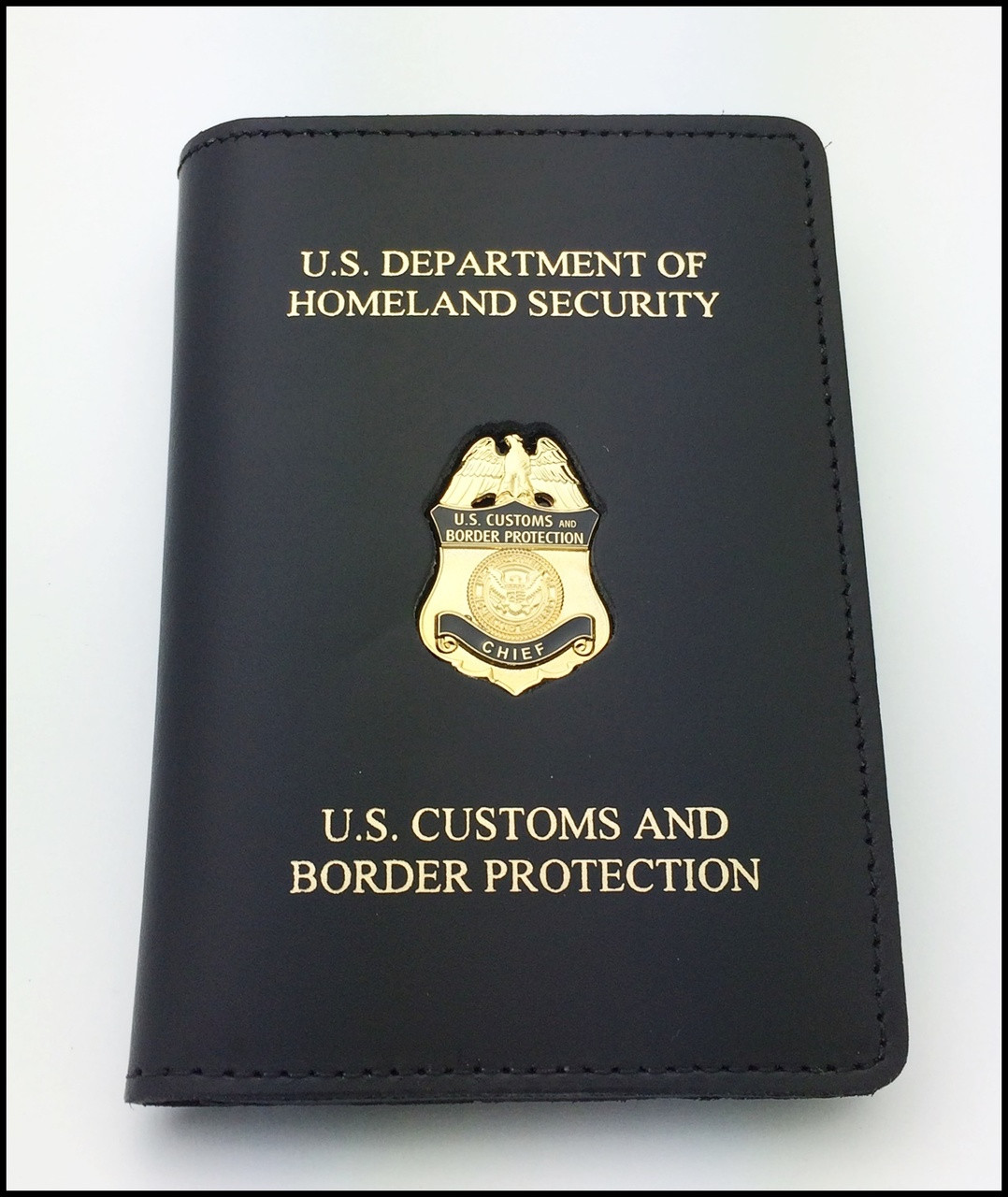 Customs and Border Protection Chief Mini Badge Credential Case - DHS & CBP embossing