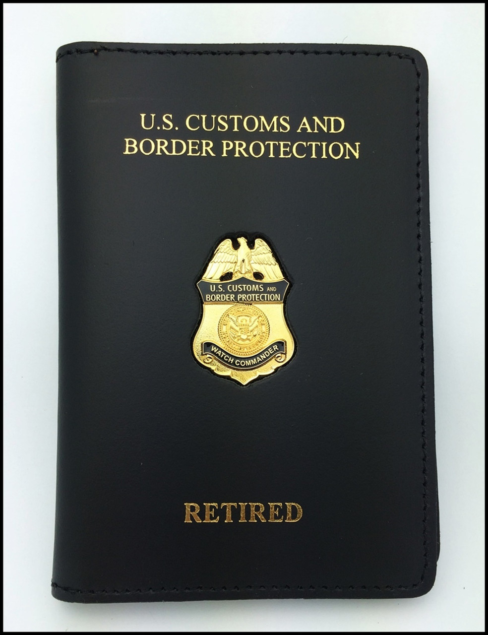 Customs and Border Protection Watch Commander Mini Badge Credential Case - CBP & RETIRED Embossing