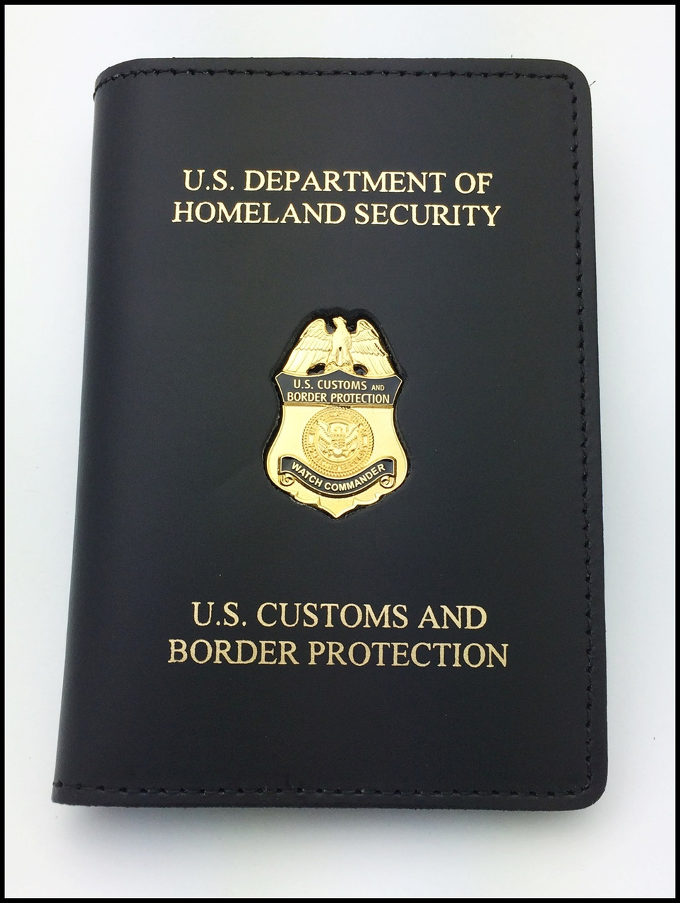 Customs and Border Protection Watch Commander Mini Badge Credential Case - DHS & CBP Embossing