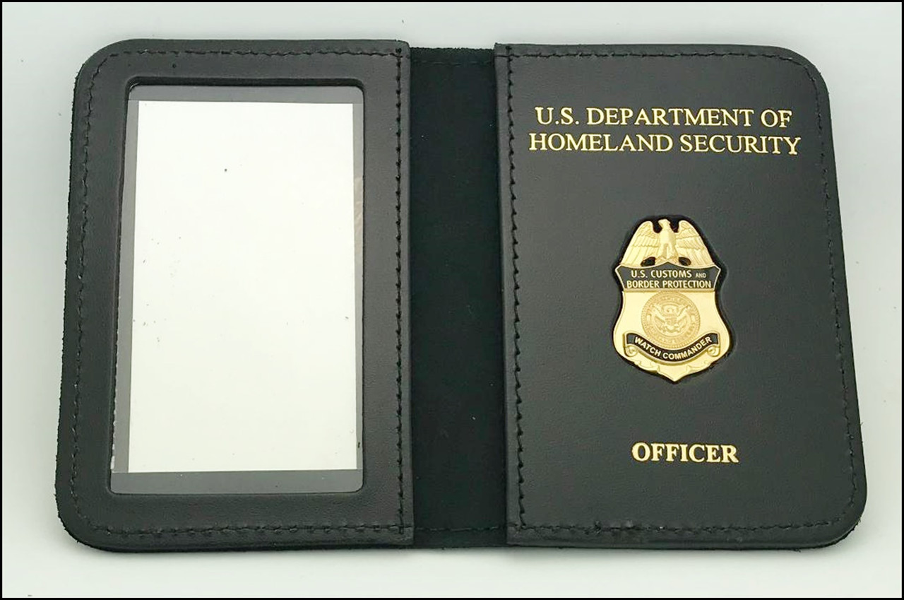Customs and Border Protection Watch Commander Mini Badge ID Case - CBP & OFFICER Embossing