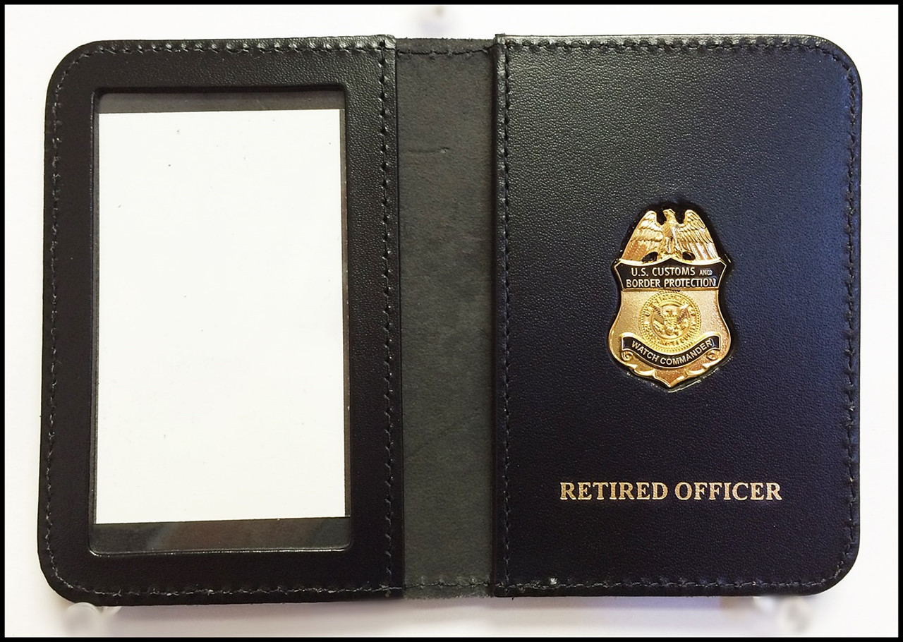 Customs and Border Protection Watch Commander Mini Badge ID Case - RETIRED OFFICER Embossing