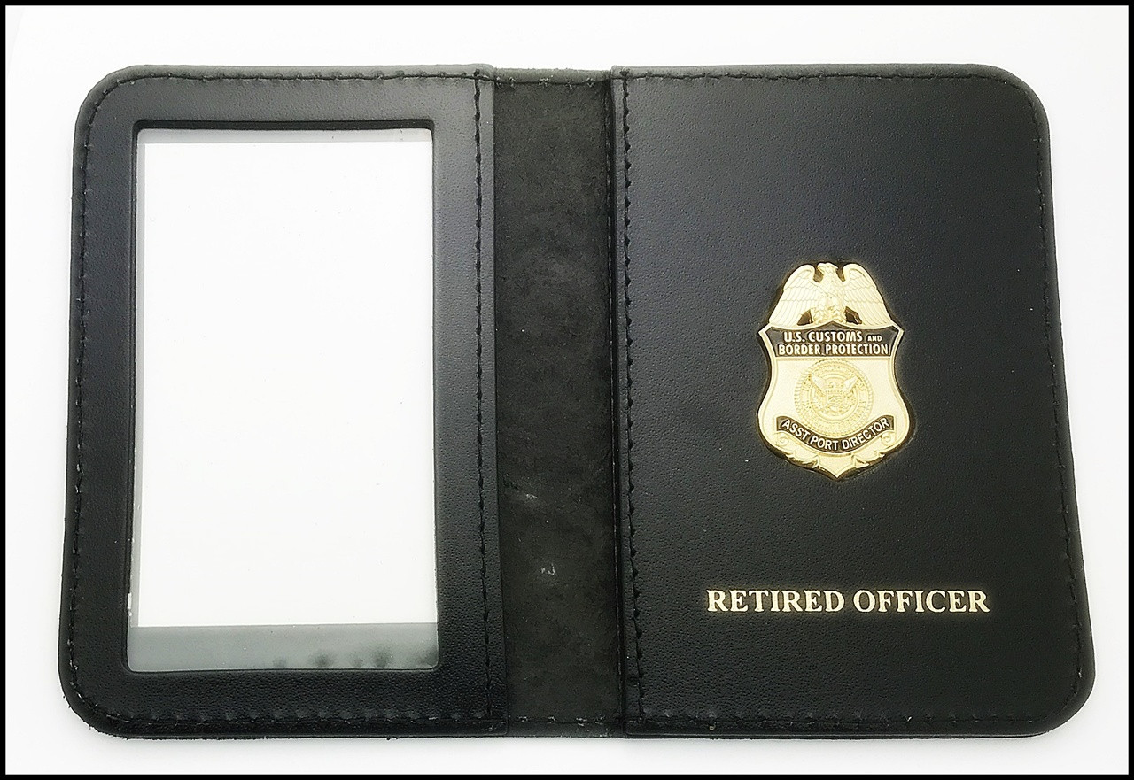 Customs and Border Protection Asst. Port Director Mini Badge ID Case - Retired Officer embossing