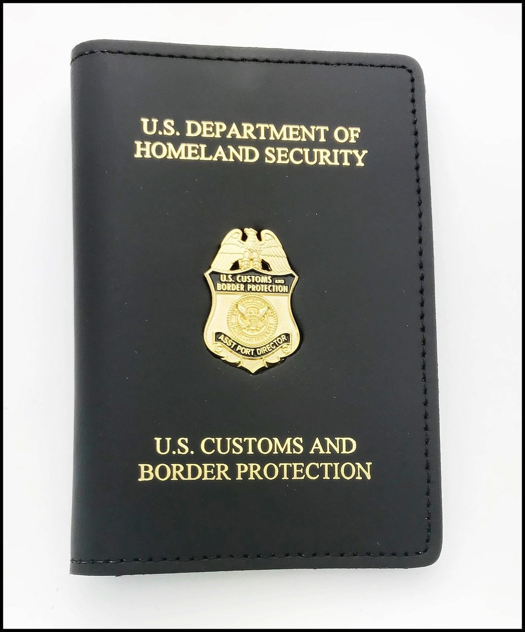 Customs and Border Protection Asst. Port Director Mini Badge Credential Case - DHS & CBP embossing