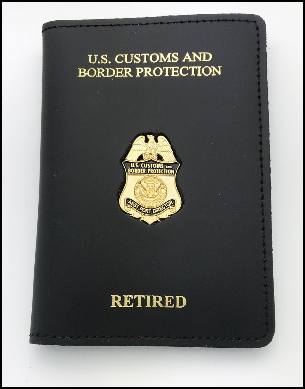 Customs and Border Protection Asst. Port Director Mini Badge Credential Case - DHS & Retired embossing