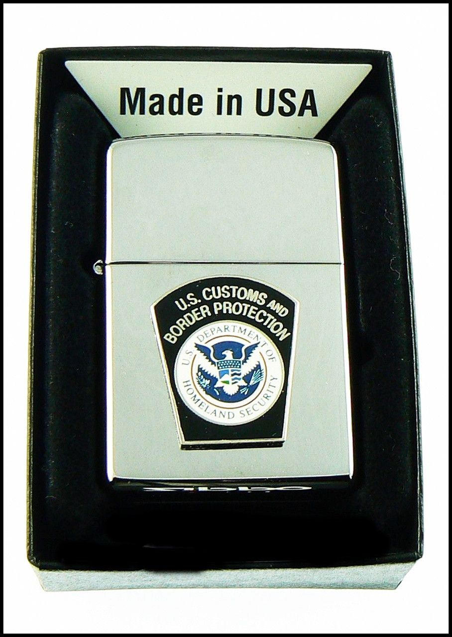 Customs and Border Protection Mini Patch Chrome Cigarette Lighters