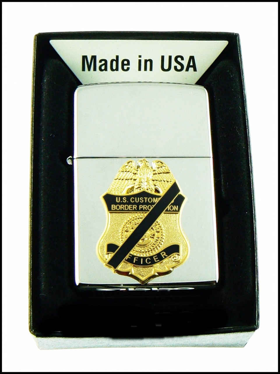 Customs and Border Protection Mini Mourning Badge Chrome Cigarette Lighters