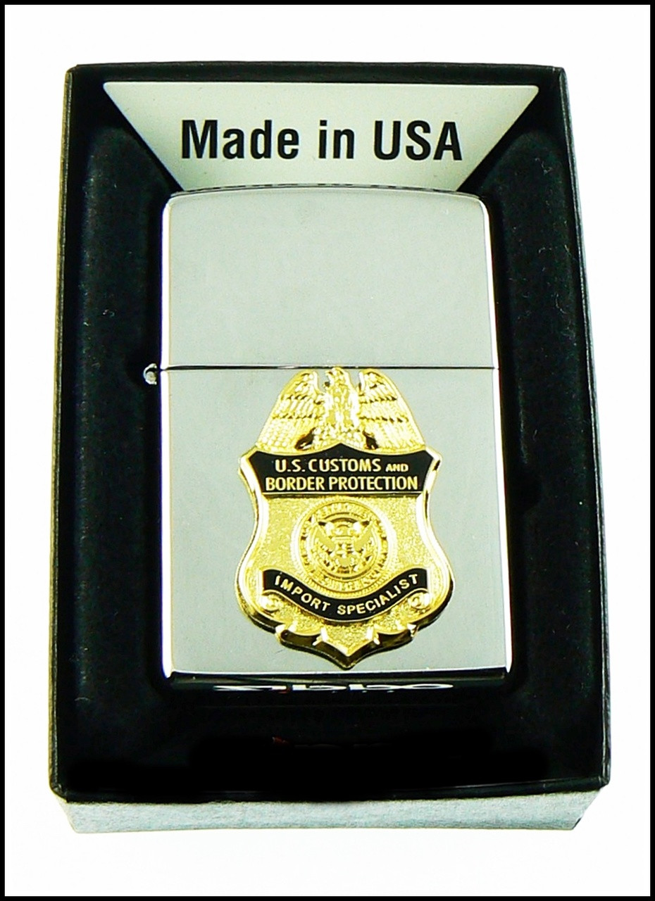 Customs and Border Protection Import Specialist Mini Badge Chrome Cigarette Lighters