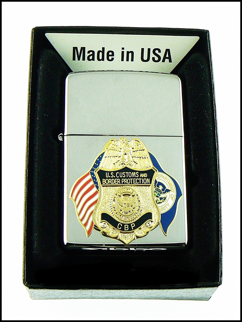 Customs and Border Protection Mini Badge and Flags Chrome Cigarette Lighters