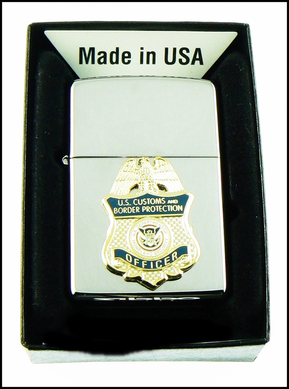 Customs and Border Protection Mini Badge in Blue Chrome Cigarette Lighters