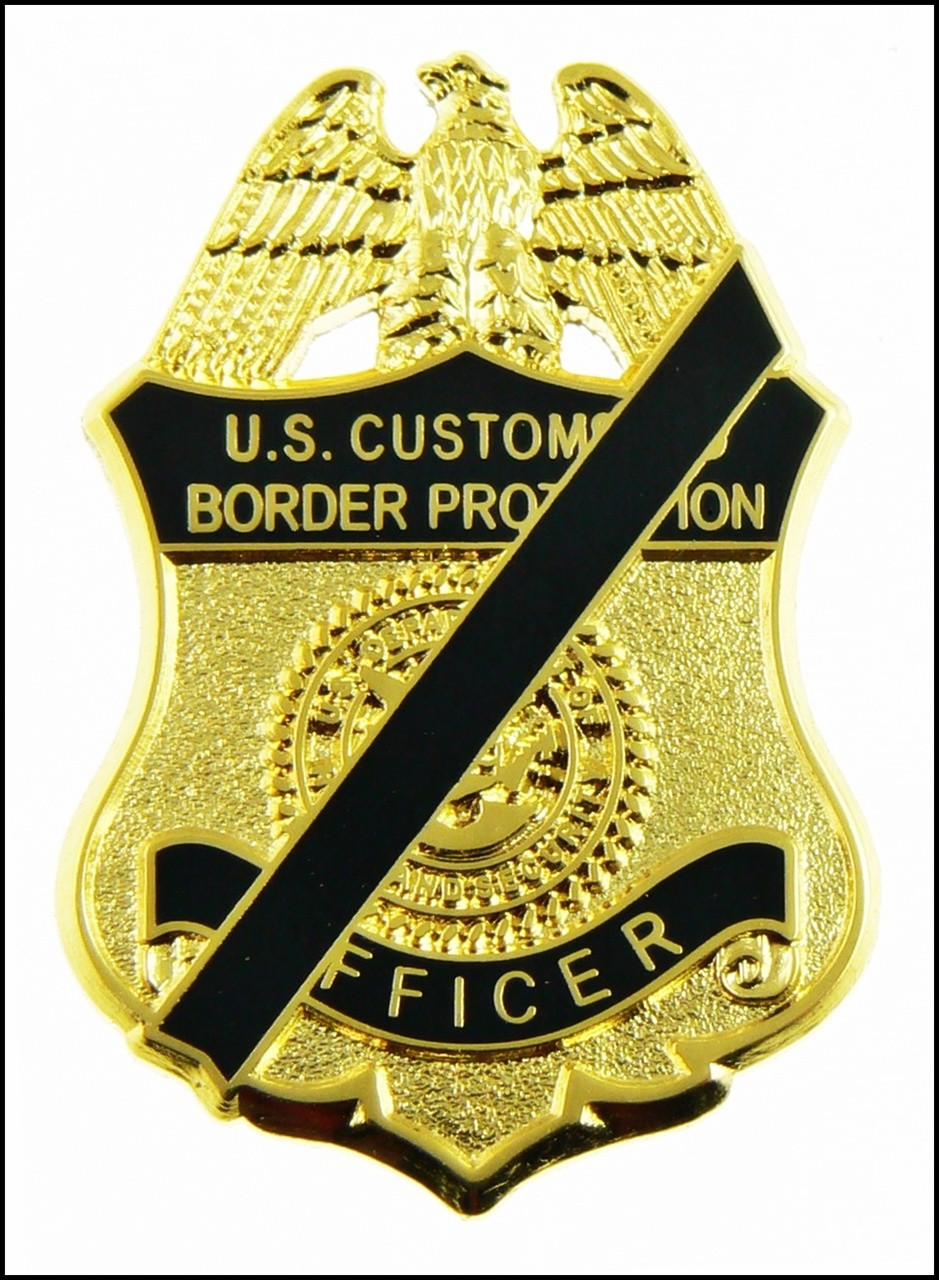 """Customs and Border Protection 1.25"""" Officer Mini Mourning Badge Magnet"""