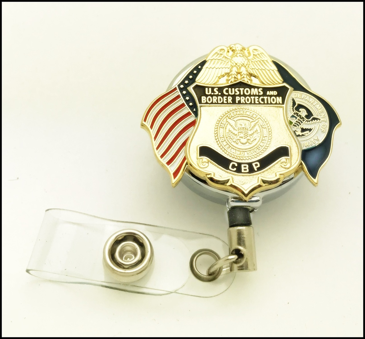 Customs and Border Protection Officer Mini Badge and Flags Chrome ID Reel