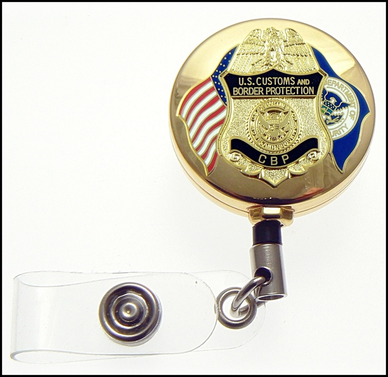 Gold Customs and Border Protection Officer Mini Badge and Flags ID Reel