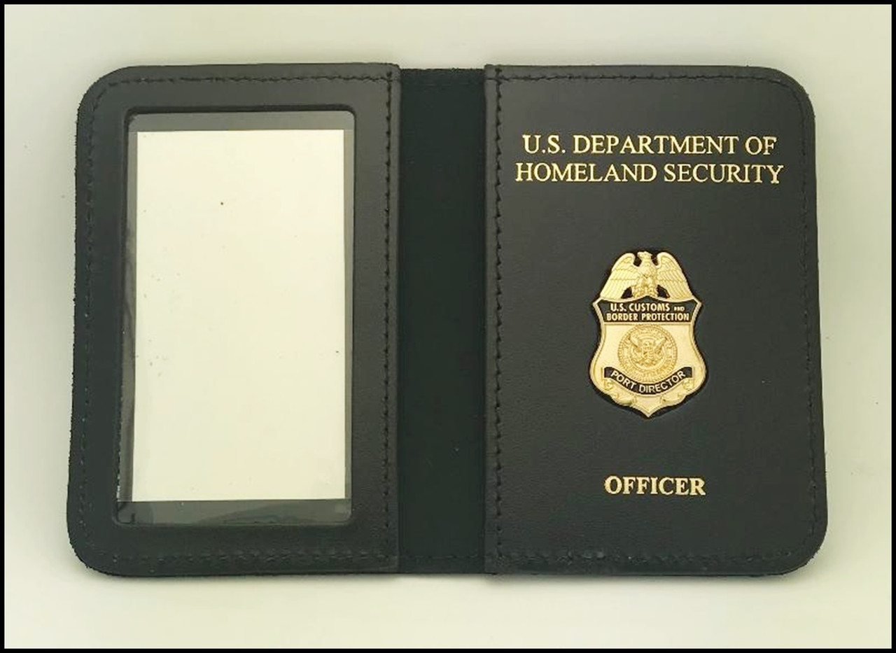 CBP Port Director Mini Badge ID Case DHS & Officer Embossing