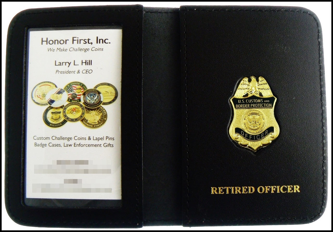 Customs and Border Protection Officer Mini Badge ID Cases with Retired Officer Embossing