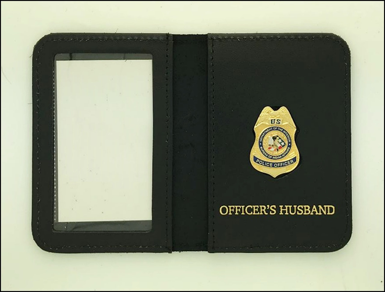 Bureau of Indian Affairs Police Officer Mini Badge ID Cases with Officers Husband Embossing