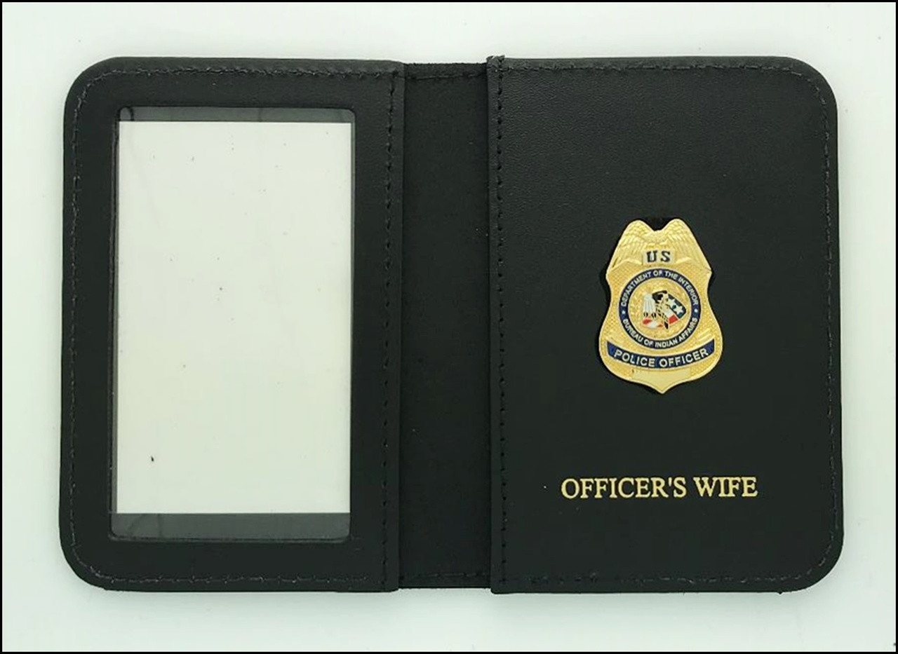 Bureau of Indian Affairs Police Officer Mini Badge ID Cases with Officers Wife Embossing
