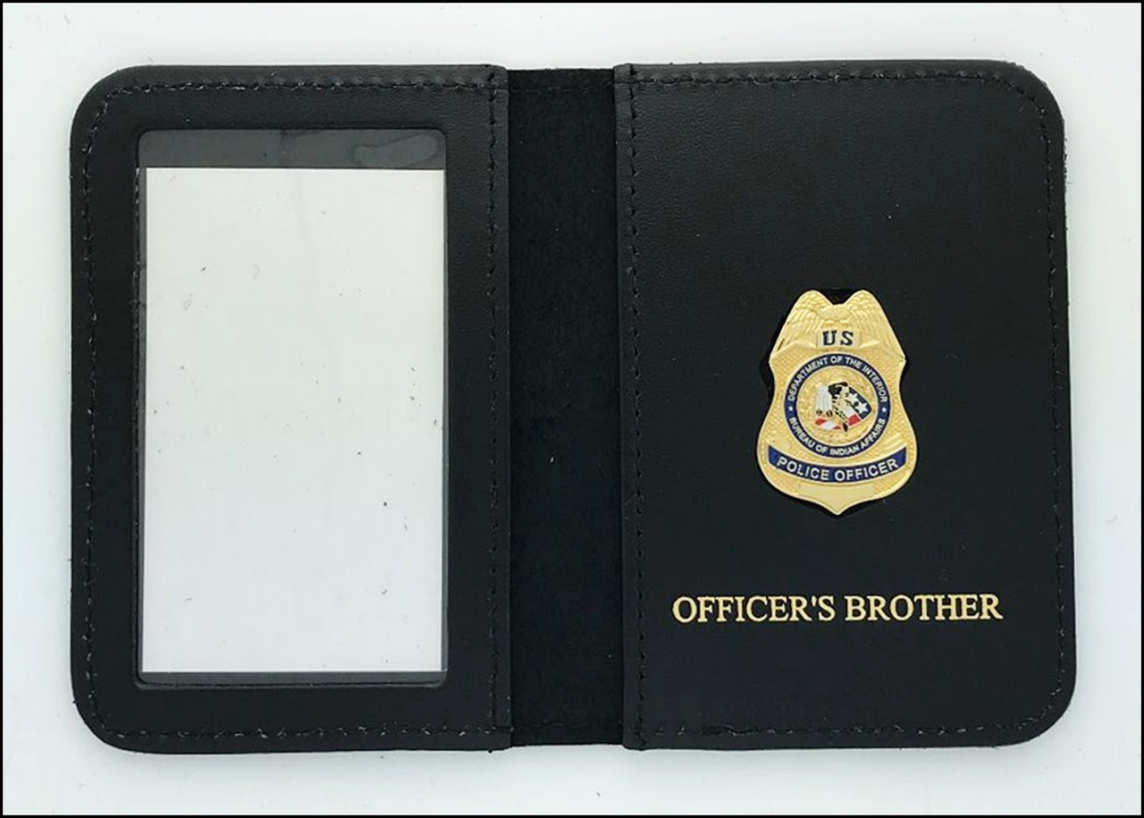 Bureau of Indian Affairs Police Officer Mini Badge ID Cases with Officers Brother Embossing