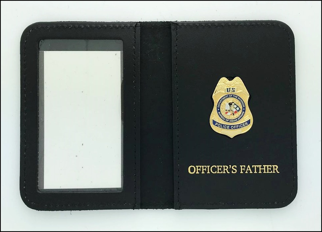 Bureau of Indian Affairs Police Officer Mini Badge ID Cases with Officers Father Embossing