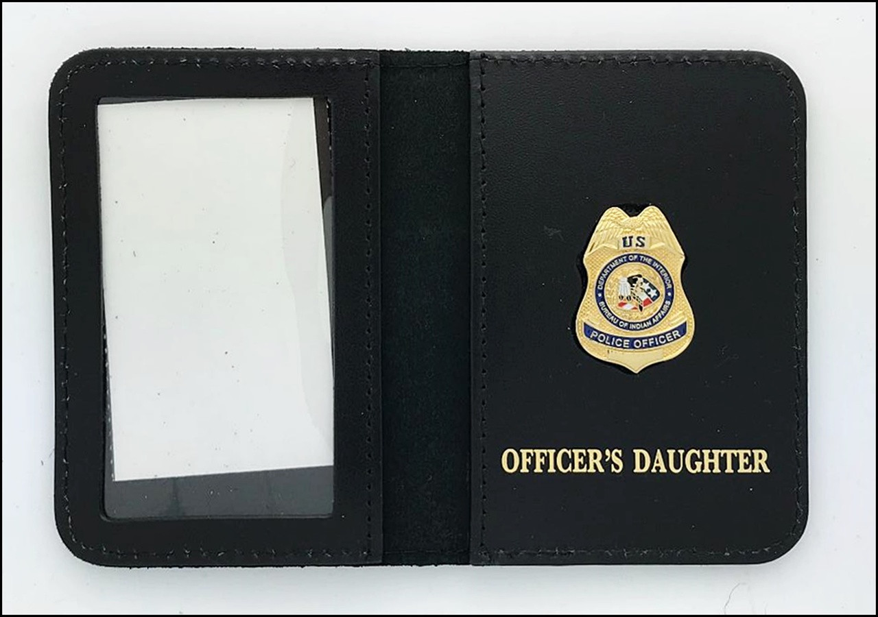 Bureau of Indian Affairs Police Officer Mini Badge ID Cases with Officers Daughter Embossing