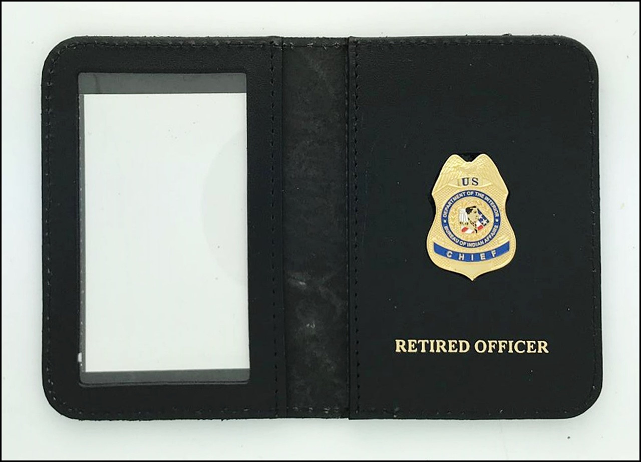 Bureau of Indian Affairs Police Chief Mini Badge ID Case with Retired Officer Embossing