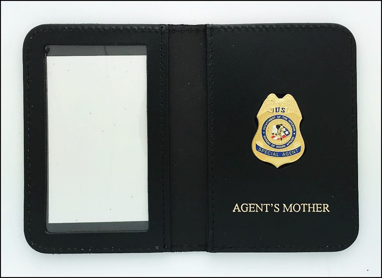 Bureau of Indian Affairs Special Agent Mini Badge ID Cases with Agent's Mother Embossing