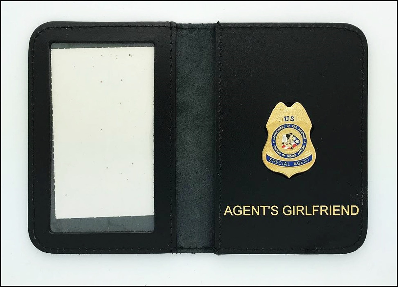 Bureau of Indian Affairs Special Agent Mini Badge ID Cases with Agent's Girlfriend Embossing