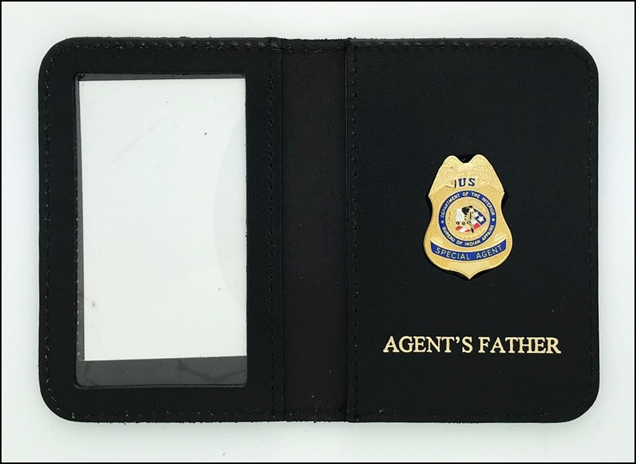Bureau of Indian Affairs Special Agent Mini Badge ID Cases with Agent's Father Embossing