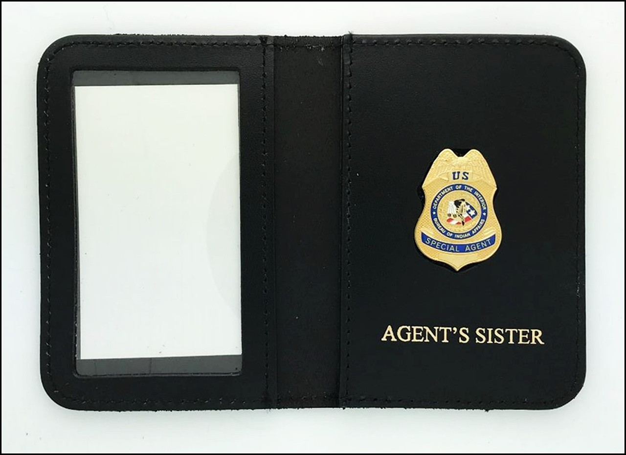 Bureau of Indian Affairs Special Agent Mini Badge ID Cases with Agent's Sister Embossing