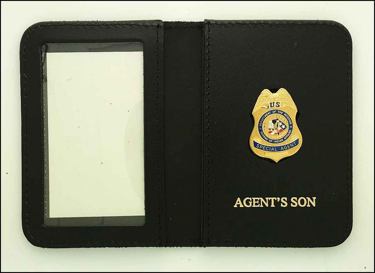 Bureau of Indian Affairs Special Agent Mini Badge ID Cases with Agent's Son Embossing