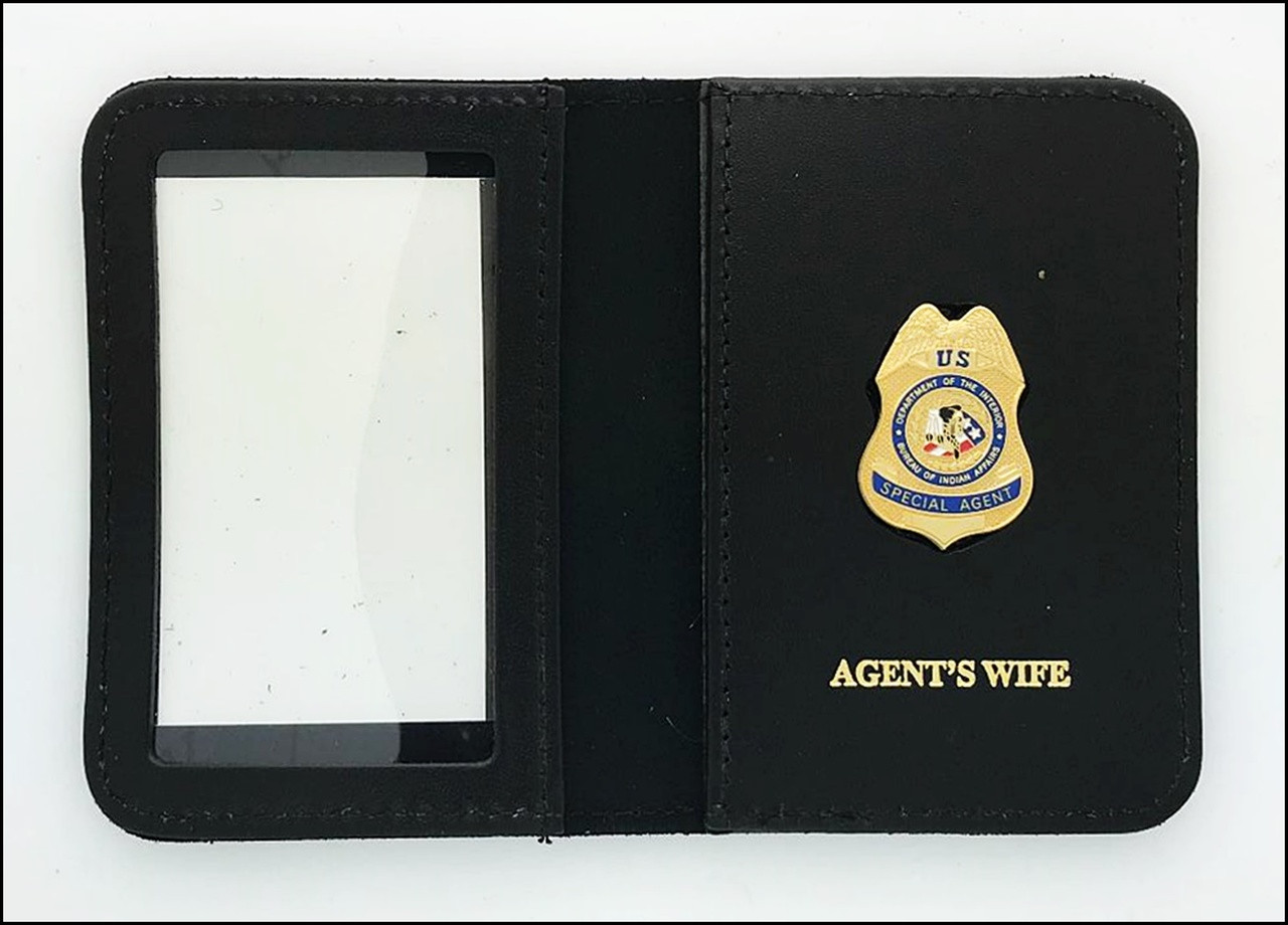 Bureau of Indian Affairs Special Agent Mini Badge ID Cases with Agent's Wife Embossing