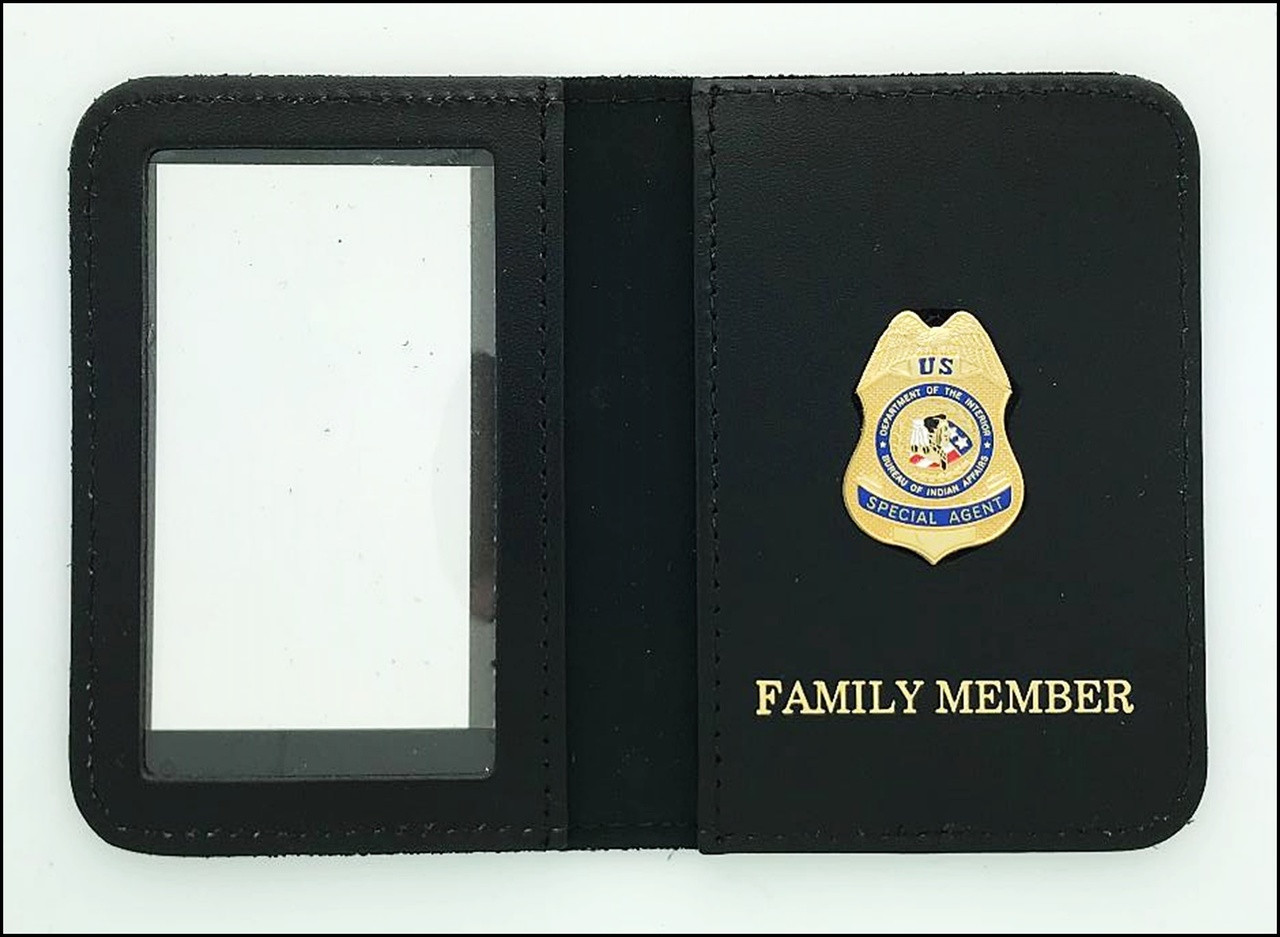 Bureau of Indian Affairs Special Agent Mini Badge ID Cases with Family Member Embossing