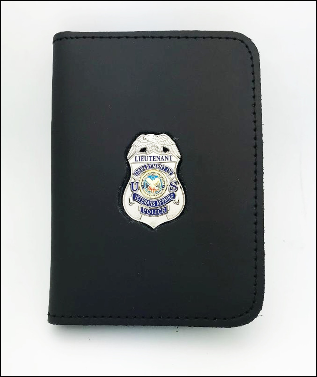 Dept. of Veterans Affairs Police Lieutenant Mini Badge ID Case - No Embossing