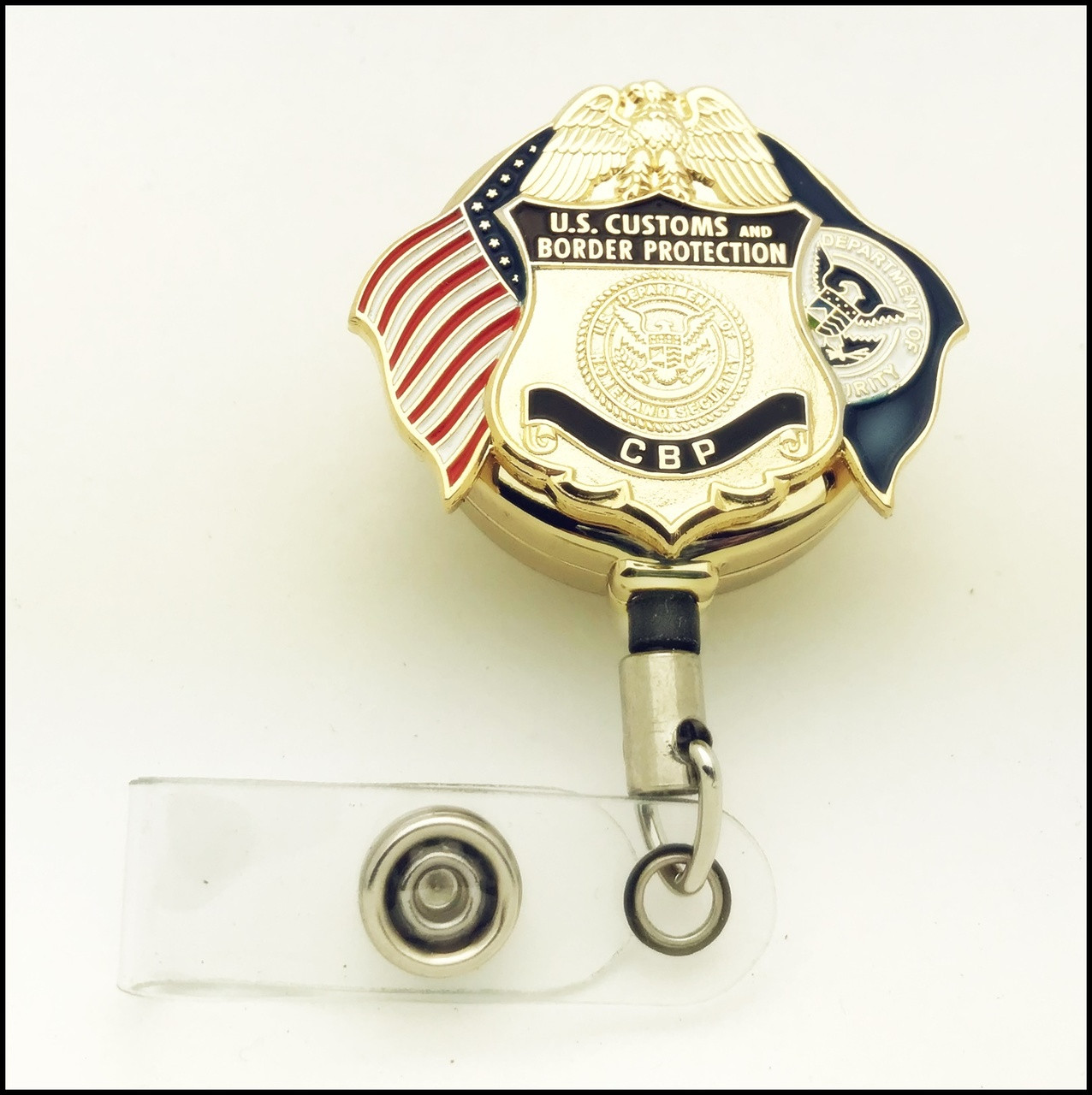 Customs and Border Protection Officer Mini Badge and Flags ID Holder   ID Reel
