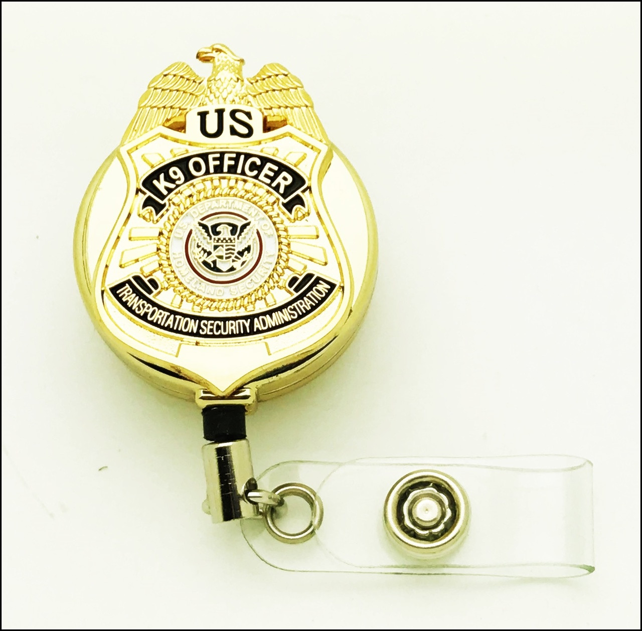 TSA K-9 Officer Mini Badge ID Reel - Chrome