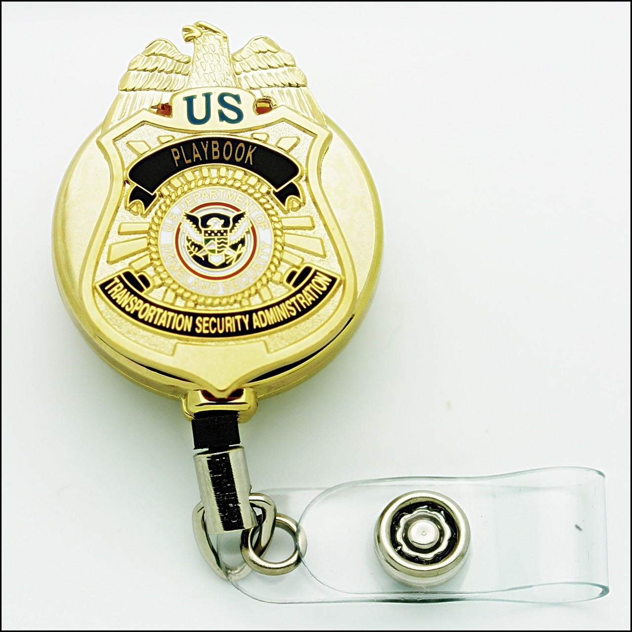 TSA Playbook Mini Badge ID Reel - Chrome