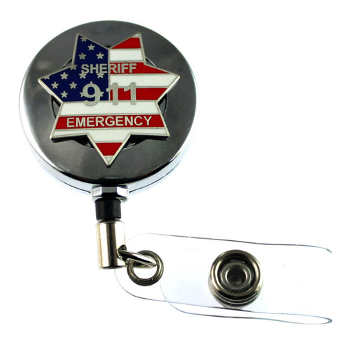 911 Sheriff Emergency Mini Badge Retractable ID Holder in a chrome