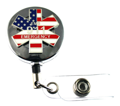 911 Emergency Medical Services (EMS) Retractable ID Holder in a chrome