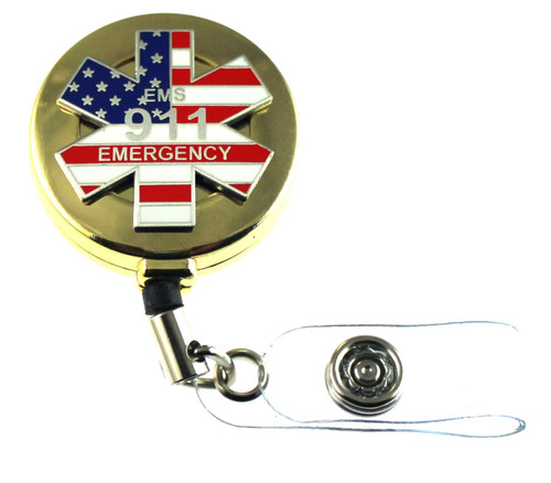 911 Emergency Medical Services (EMS) Retractable ID Holder in a gold