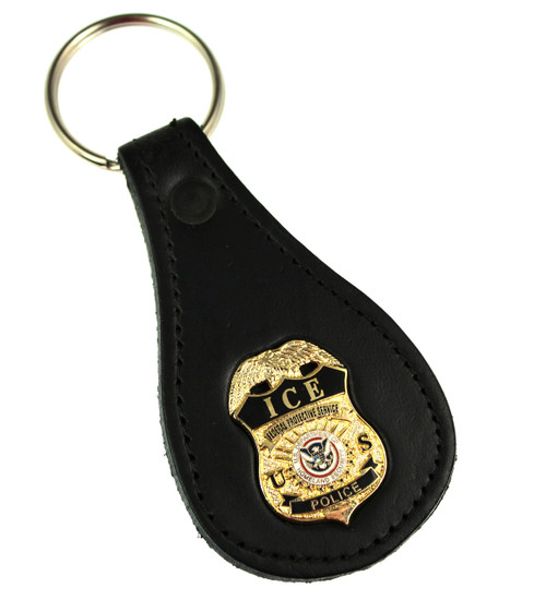 ICE Federal Protective Service Police Mini Badge Leather Key Ring