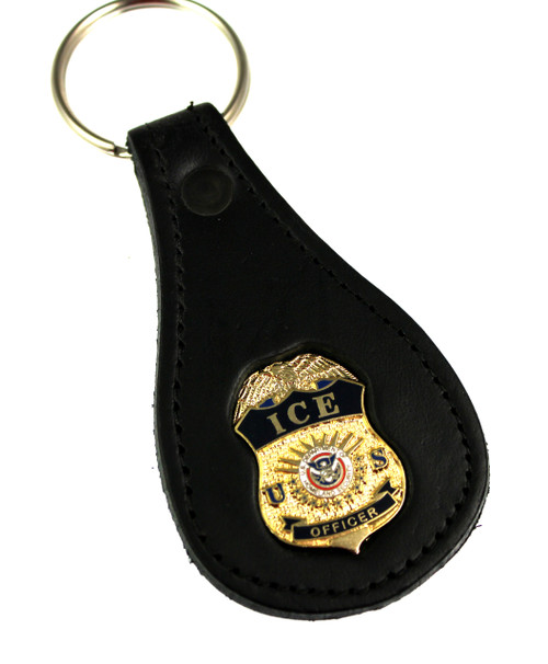 ICE Officer Mini Badge Leather Key Ring